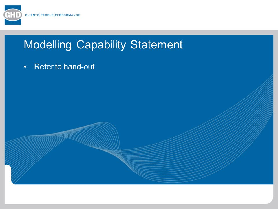 Modelling Capability Statement