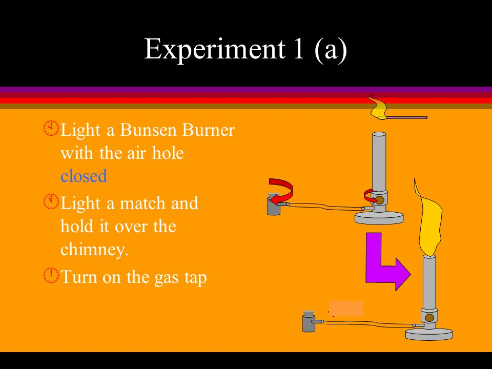 Experiment 1 (a) Light a Bunsen Burner with the air hole closed