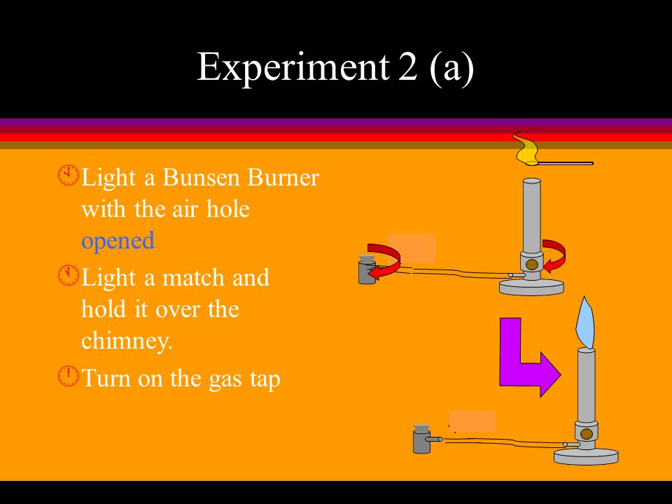 Experiment 2 (a) Light a Bunsen Burner with the air hole opened