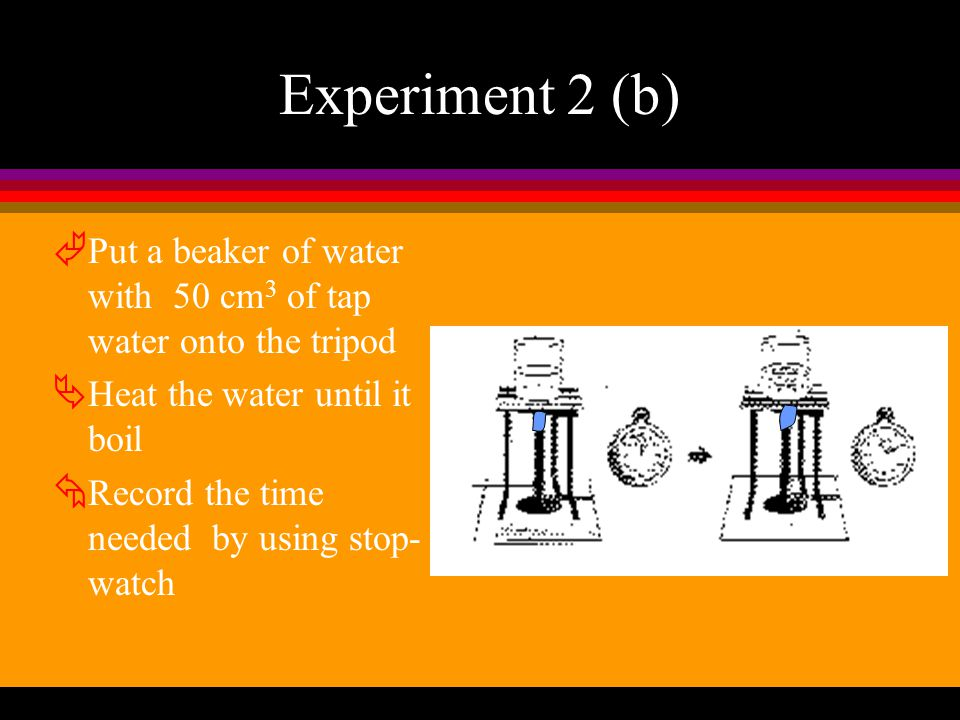 Experiment 2 (b) Put a beaker of water with 50 cm3 of tap water onto the tripod. Heat the water until it boil.