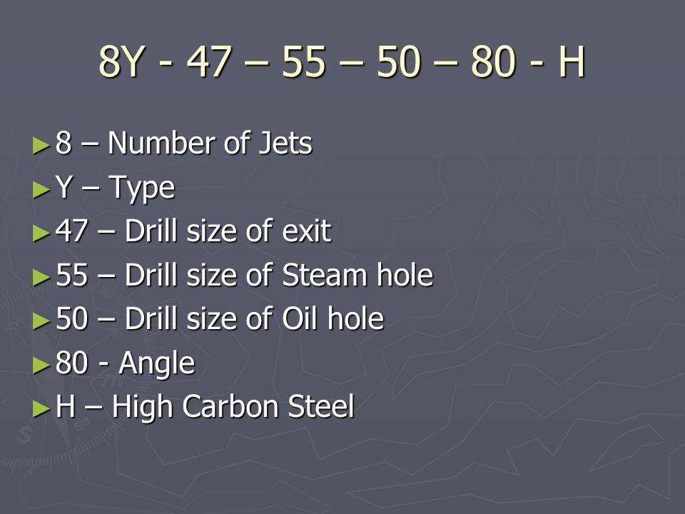 8Y - 47 – 55 – 50 – 80 - H 8 – Number of Jets Y – Type