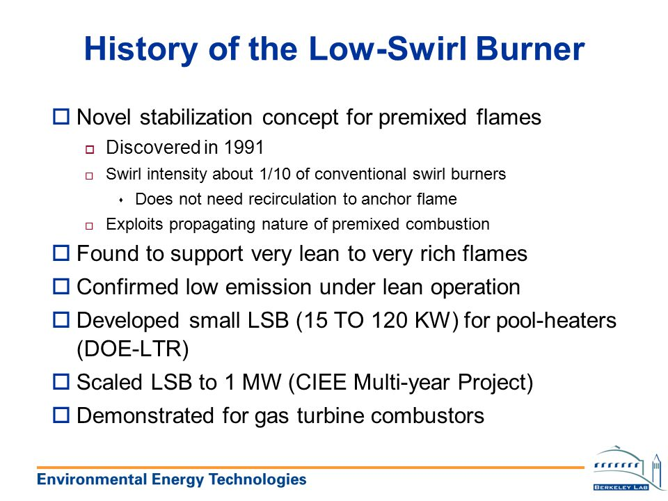History of the Low-Swirl Burner