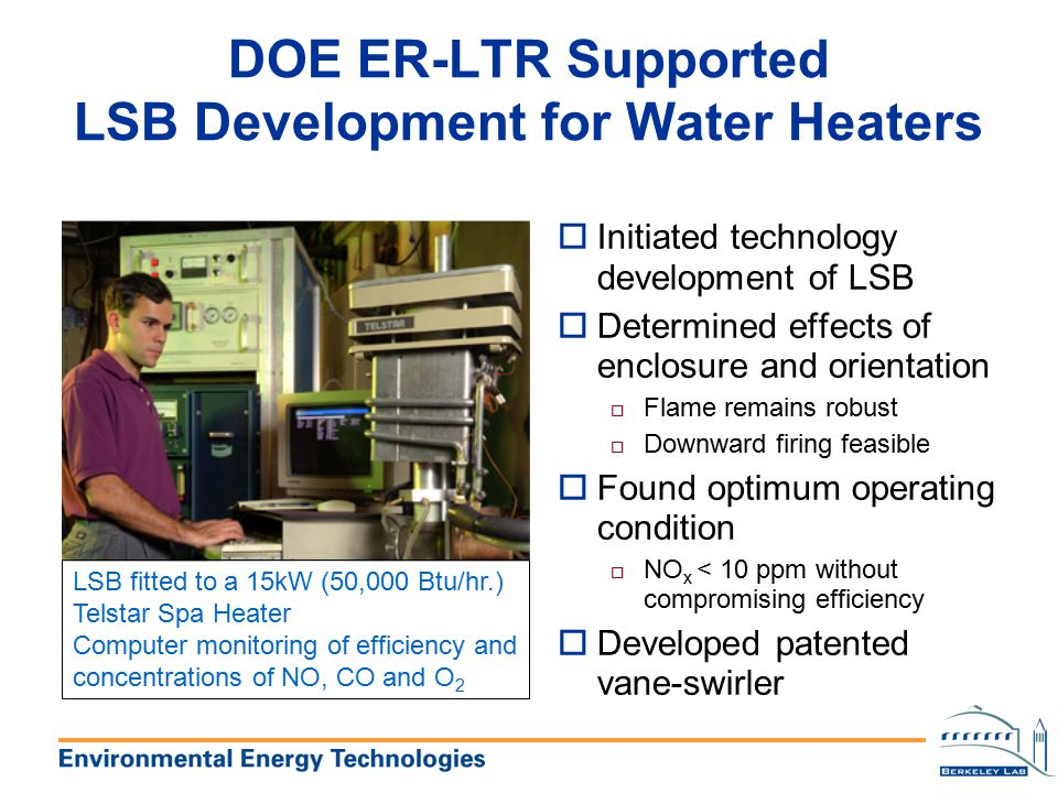 DOE ER-LTR Supported LSB Development for Water Heaters