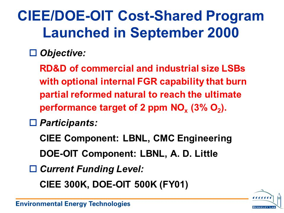 CIEE/DOE-OIT Cost-Shared Program Launched in September 2000