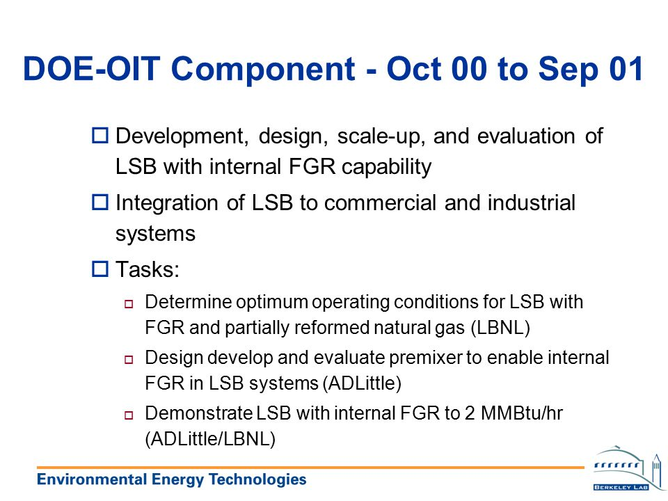 DOE-OIT Component - Oct 00 to Sep 01