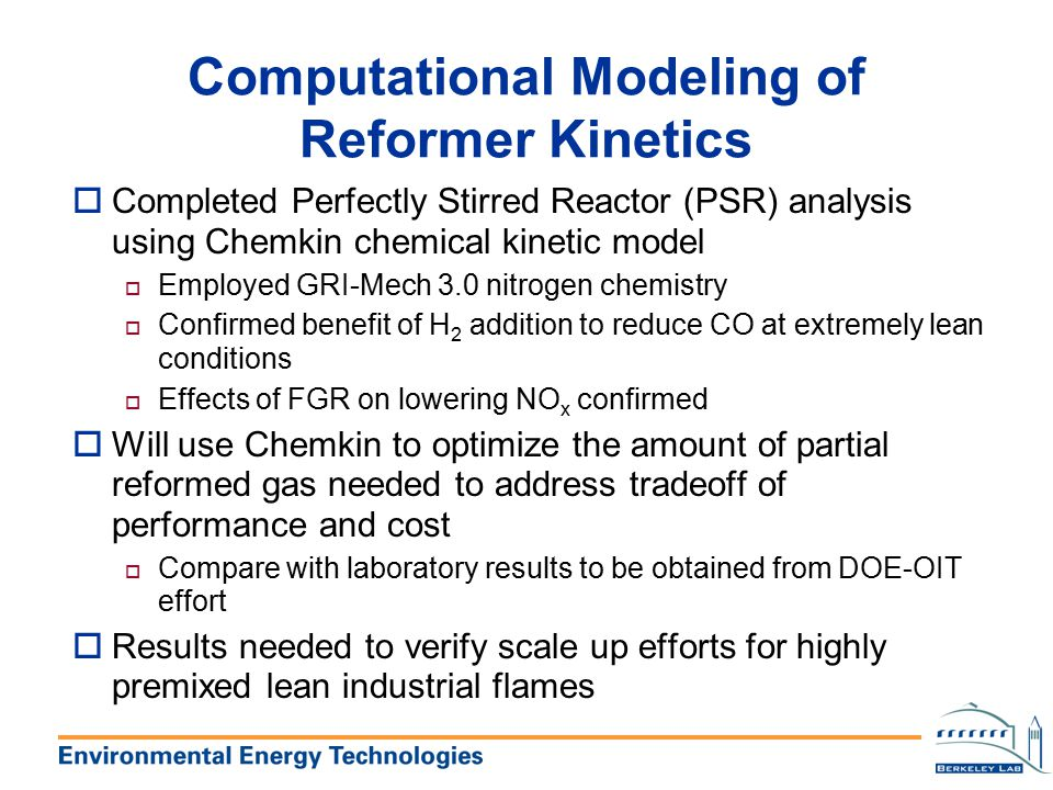 Computational Modeling of Reformer Kinetics