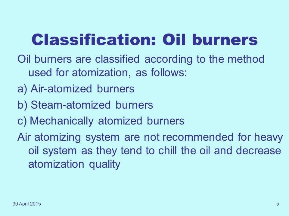 Classification: Oil burners