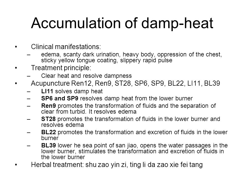 Accumulation of damp-heat