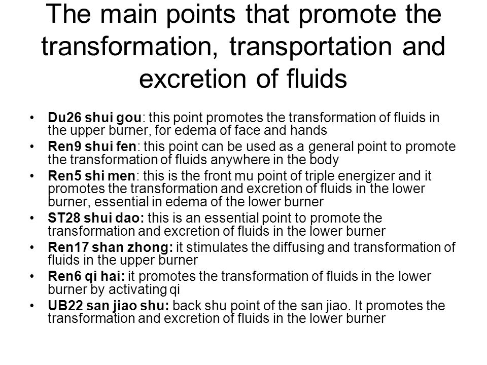 The main points that promote the transformation, transportation and excretion of fluids