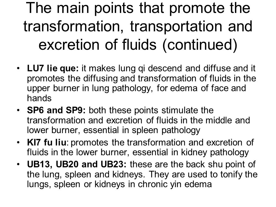 The main points that promote the transformation, transportation and excretion of fluids (continued)