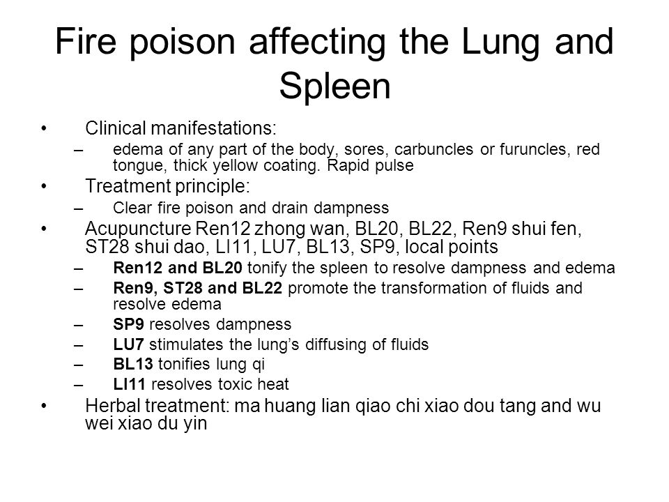 Fire poison affecting the Lung and Spleen
