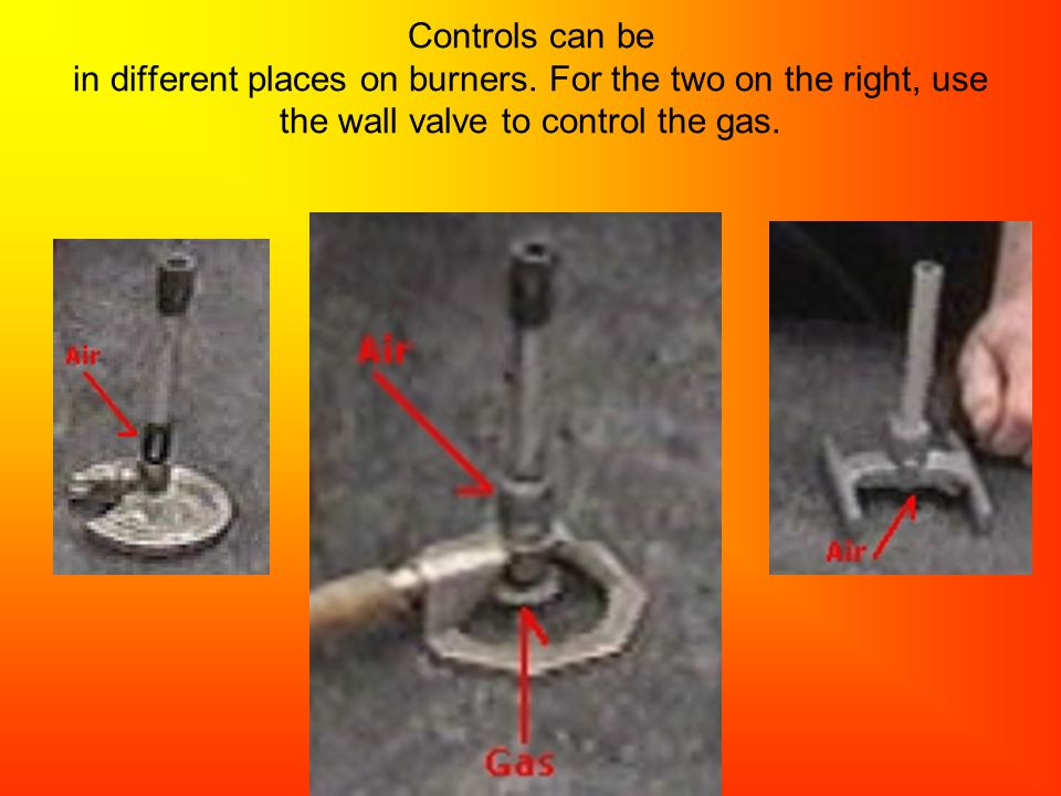 Controls can be in different places on burners