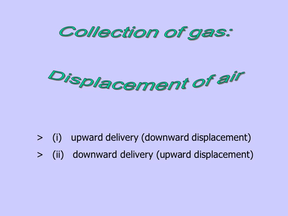 Collection of gas: Displacement of air