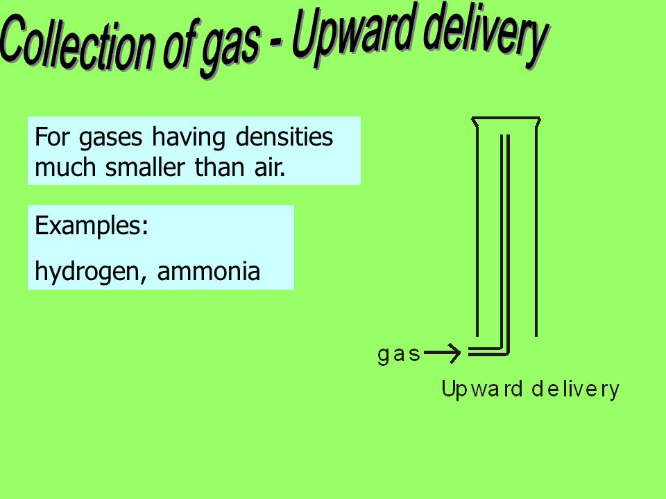 Collection of gas - Upward delivery