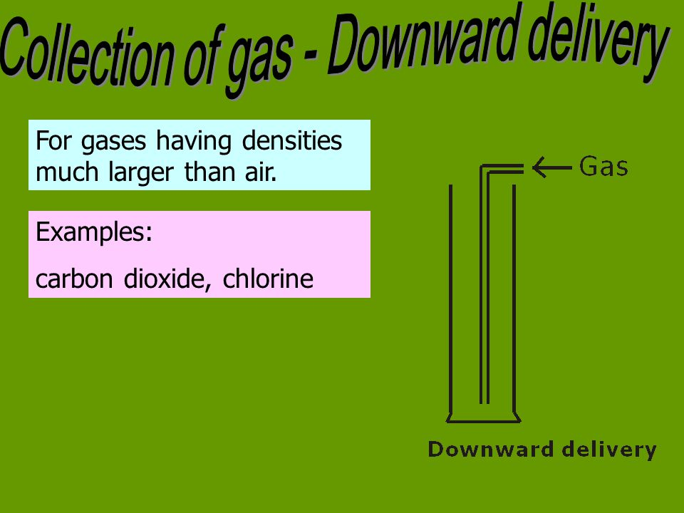 Collection of gas - Downward delivery