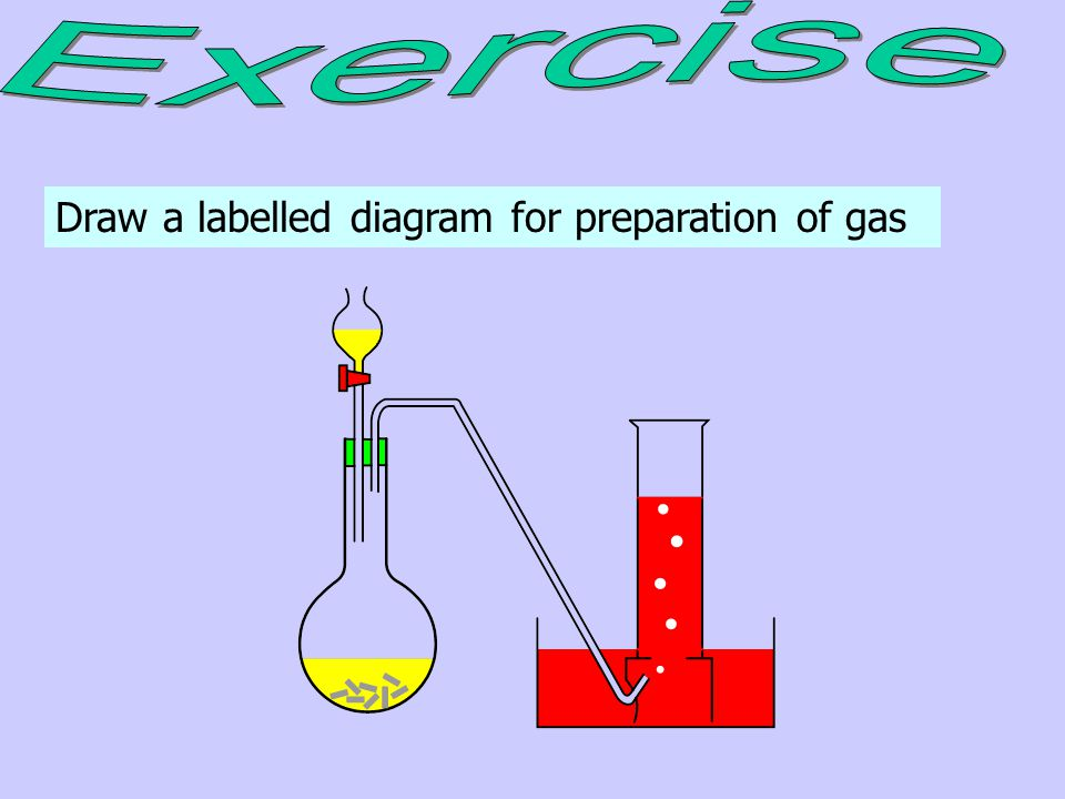 Exercise Draw a labelled diagram for preparation of gas