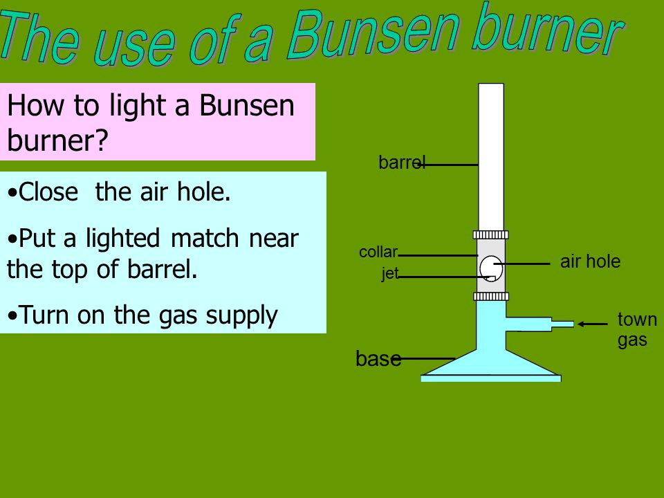 The use of a Bunsen burner