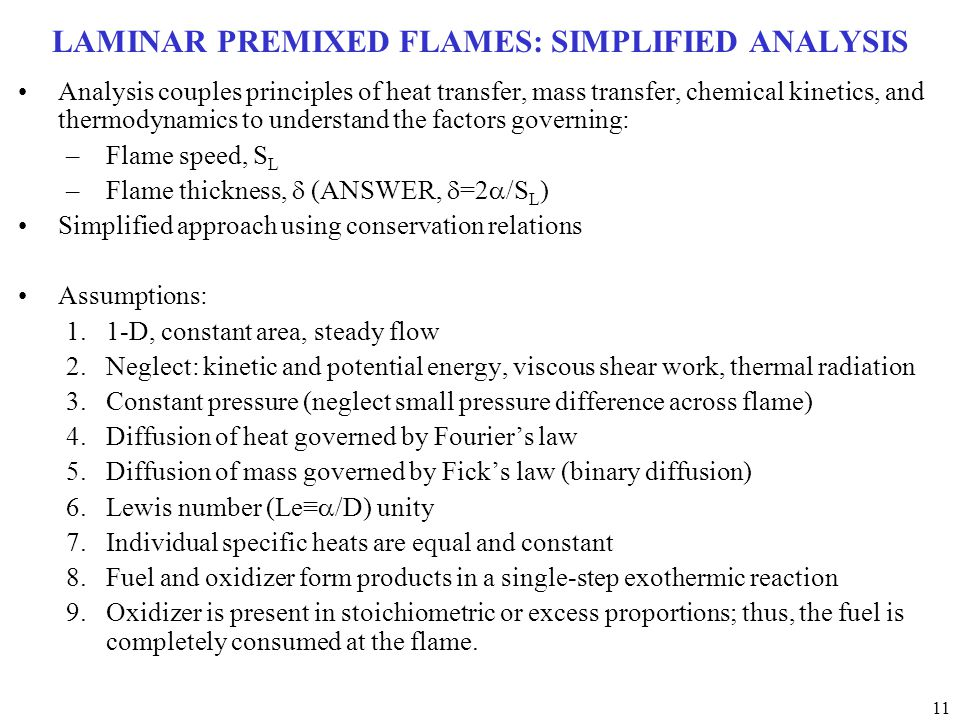 LAMINAR PREMIXED FLAMES: SIMPLIFIED ANALYSIS