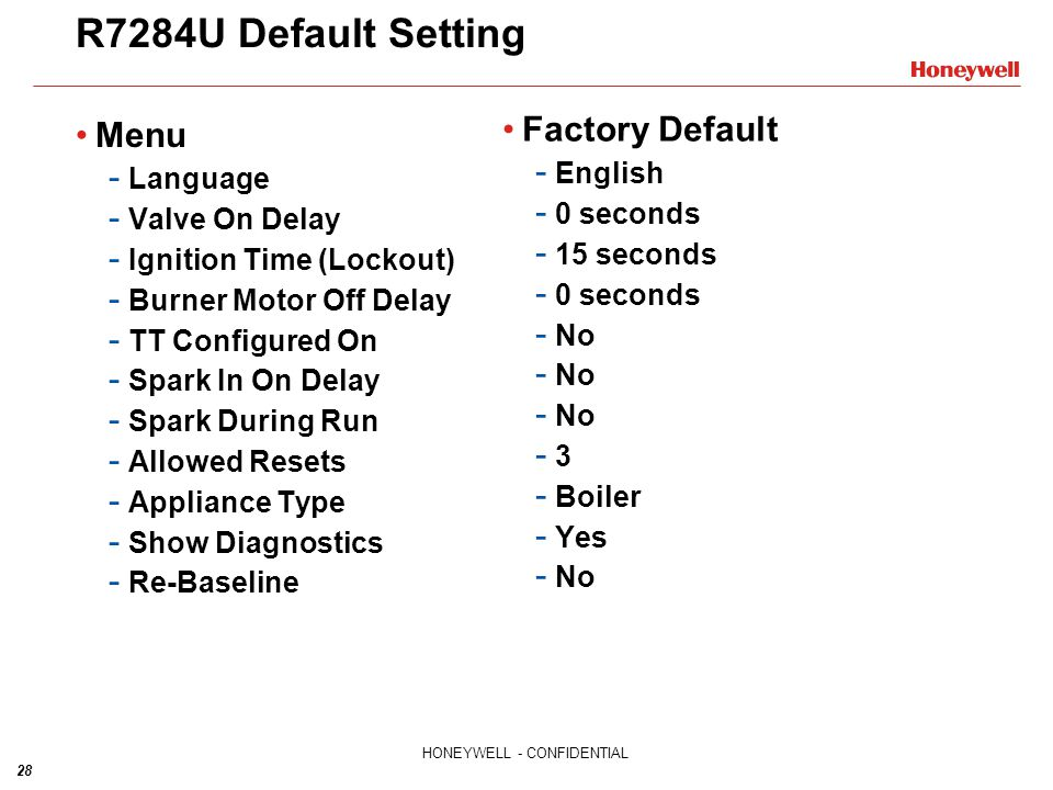 R7284U Default Setting Factory Default Menu English Language 0 seconds
