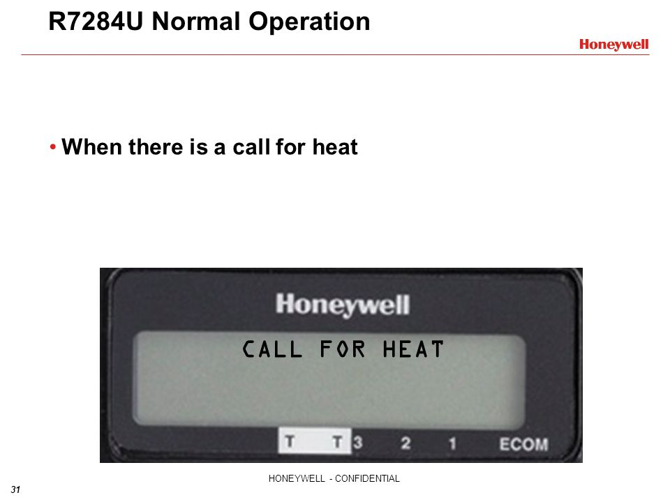 R7284U Normal Operation When there is a call for heat CALL FOR HEAT