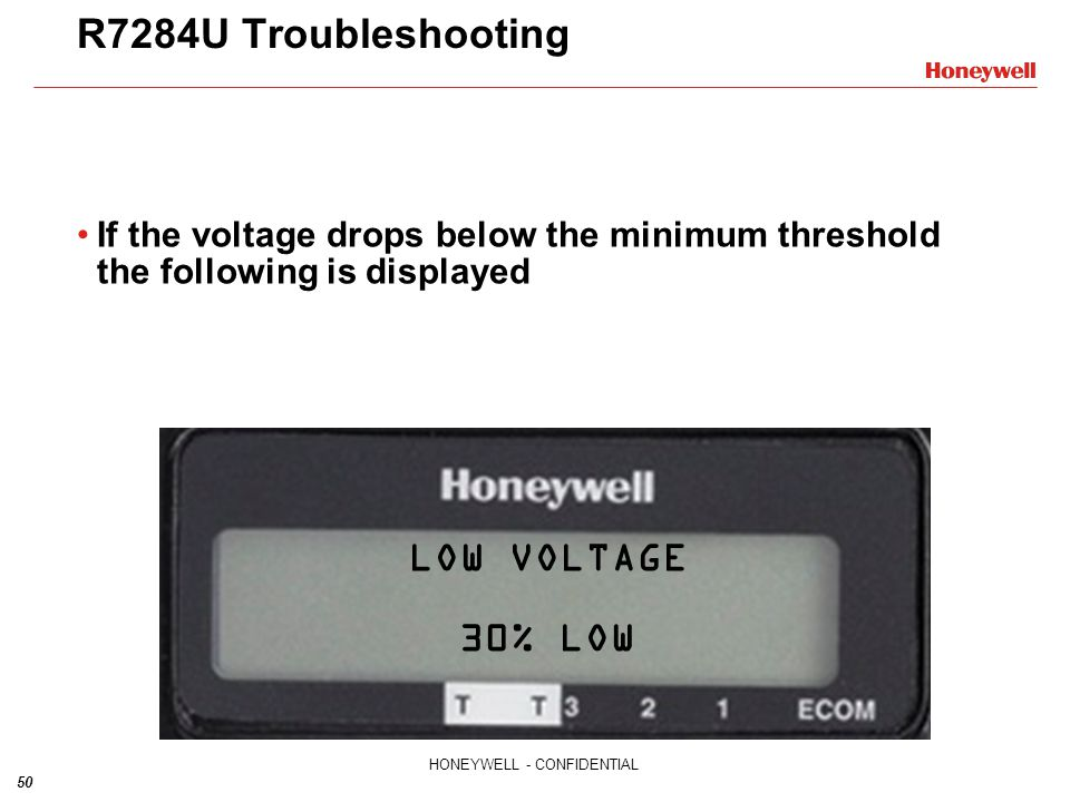 R7284U Troubleshooting LOW VOLTAGE 30% LOW