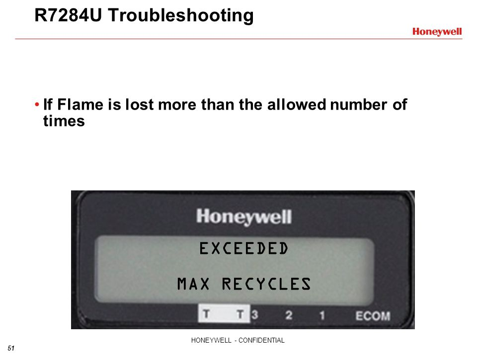 R7284U Troubleshooting EXCEEDED MAX RECYCLES