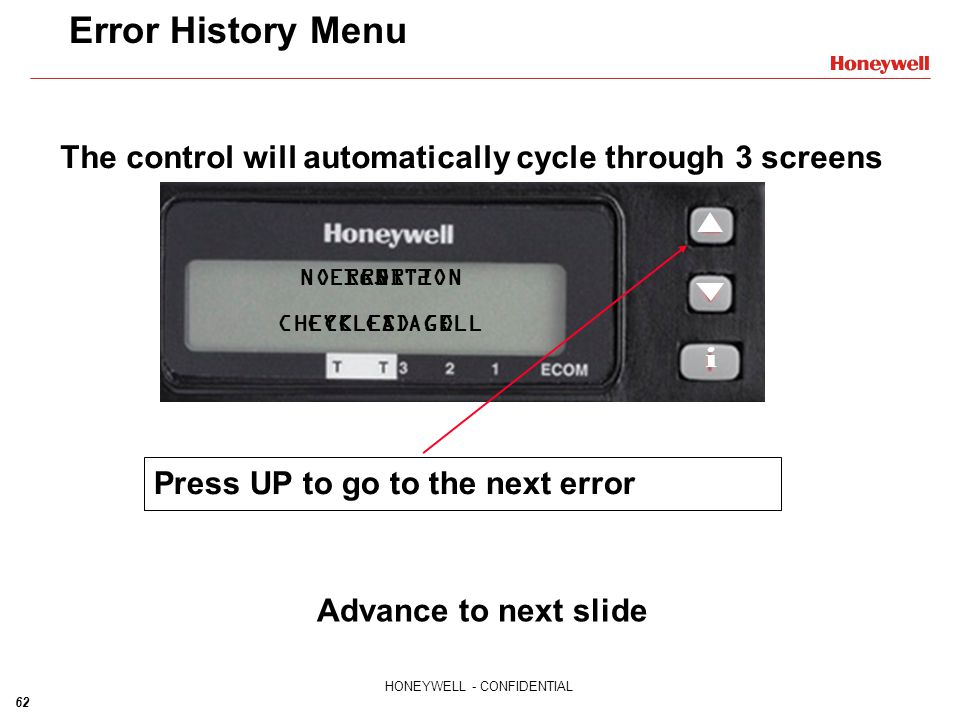 The control will automatically cycle through 3 screens