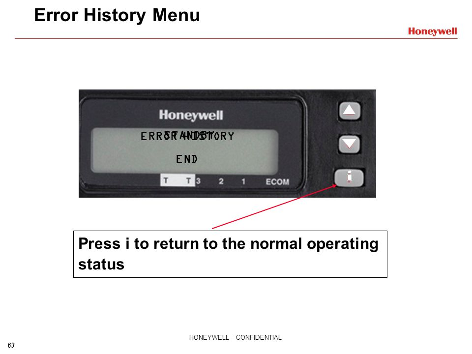 Error History Menu Press i to return to the normal operating status i