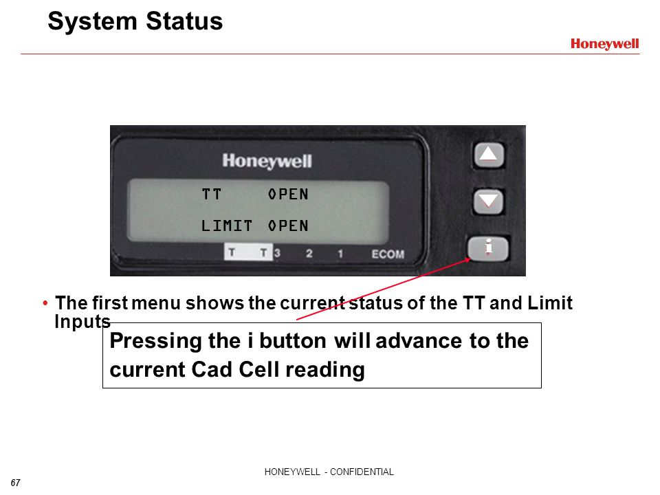 System Status TT OPEN. LIMIT OPEN. i. Pressing the i button will advance to the current Cad Cell reading.