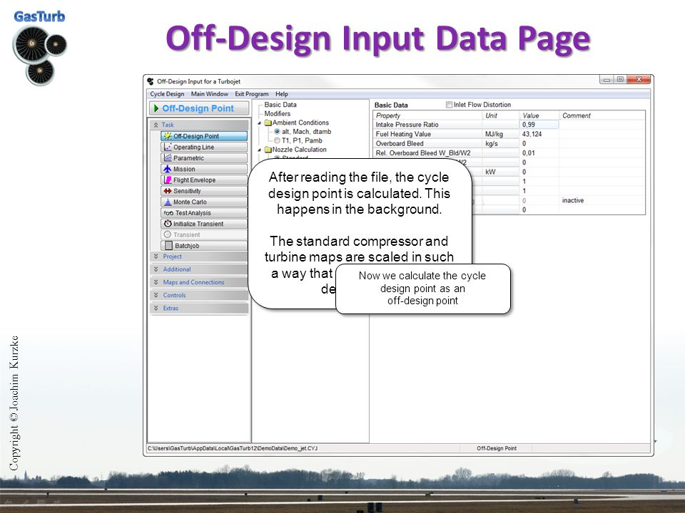 Off-Design Input Data Page