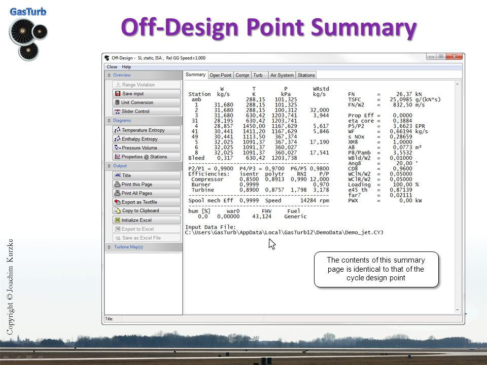 Off-Design Point Summary