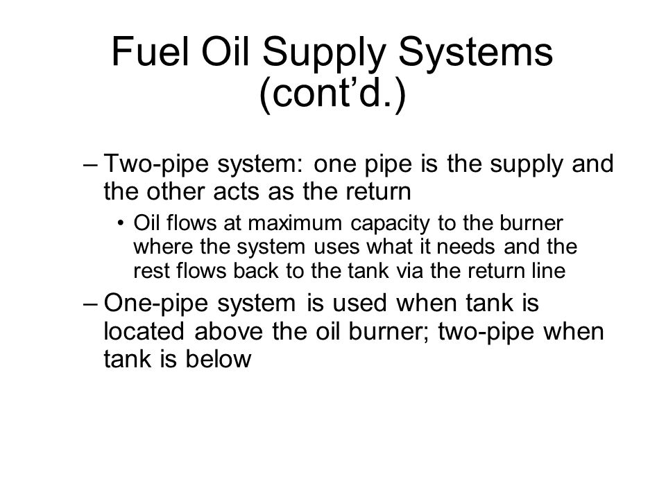 Fuel Oil Supply Systems (cont'd.)