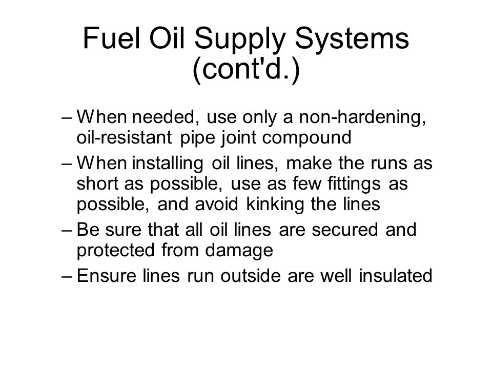 Fuel Oil Supply Systems (cont d.)‏