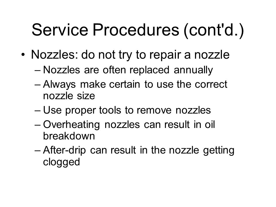Service Procedures (cont d.)‏