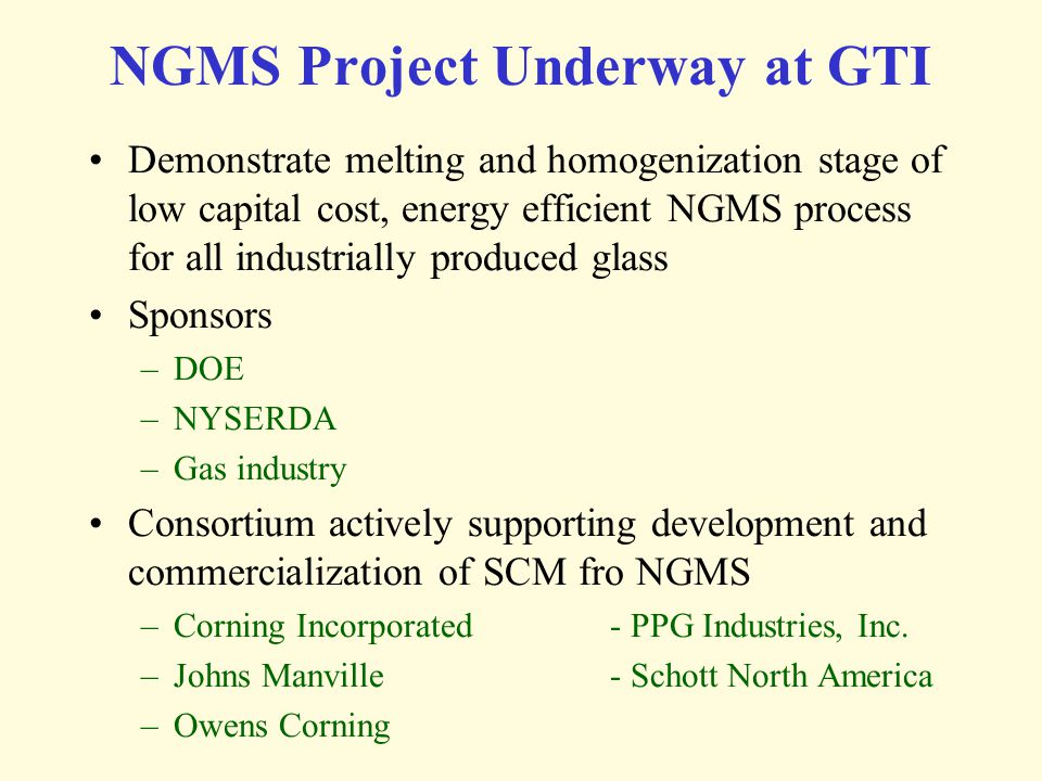 NGMS Project Underway at GTI