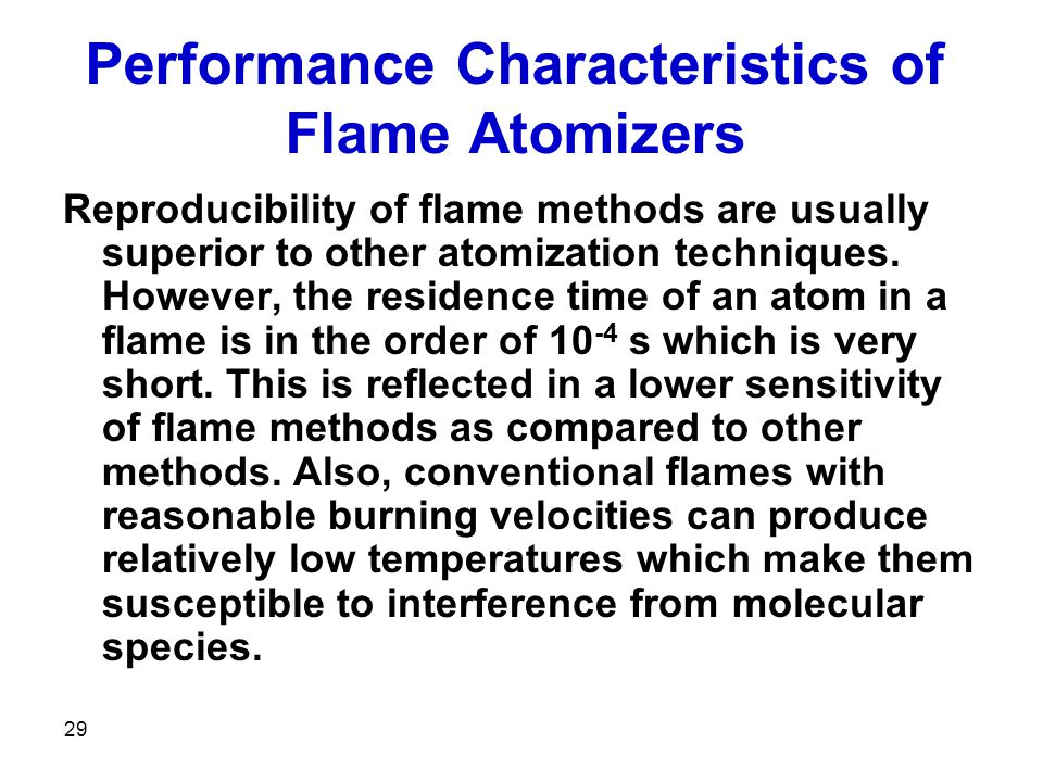 Performance Characteristics of Flame Atomizers
