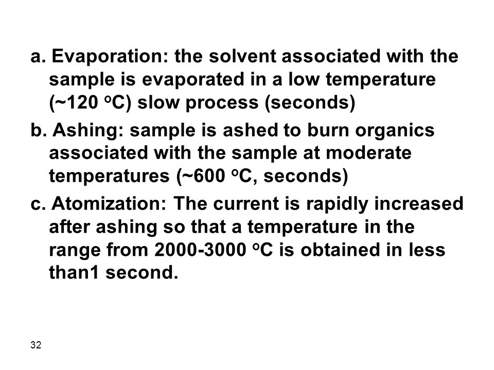a. Evaporation: the solvent associated with the sample is evaporated in a low temperature (~120 oC) slow process (seconds)