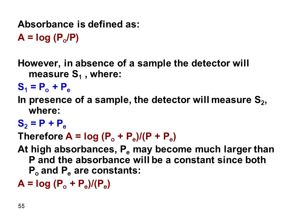 Absorbance is defined as: