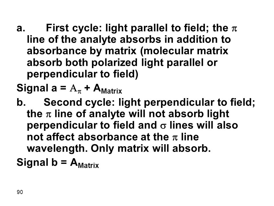 a. First cycle: light parallel to field; the p line of the analyte absorbs in addition to absorbance by matrix (molecular matrix absorb both polarized light parallel or perpendicular to field)