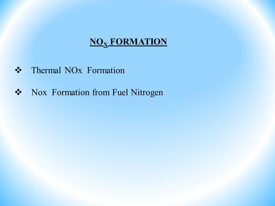 NOX FORMATION Thermal NOx Formation Nox Formation from Fuel Nitrogen