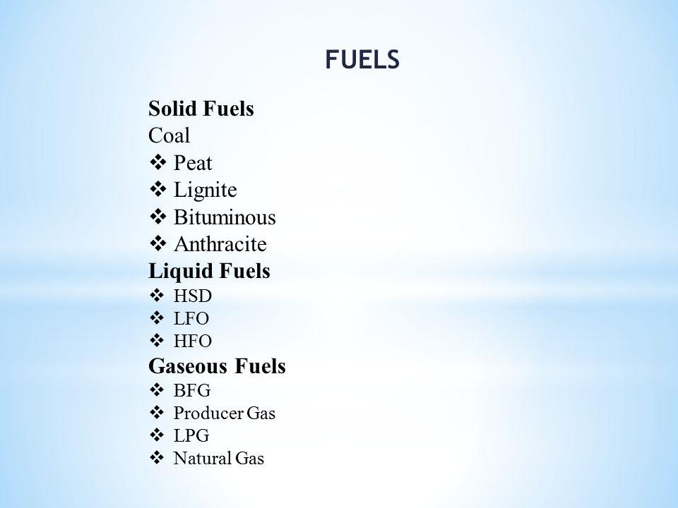 FUELS Solid Fuels Coal Peat Lignite Bituminous Anthracite Liquid Fuels