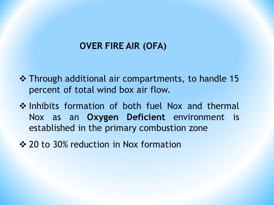 OVER FIRE AIR (OFA) Through additional air compartments, to handle 15 percent of total wind box air flow.