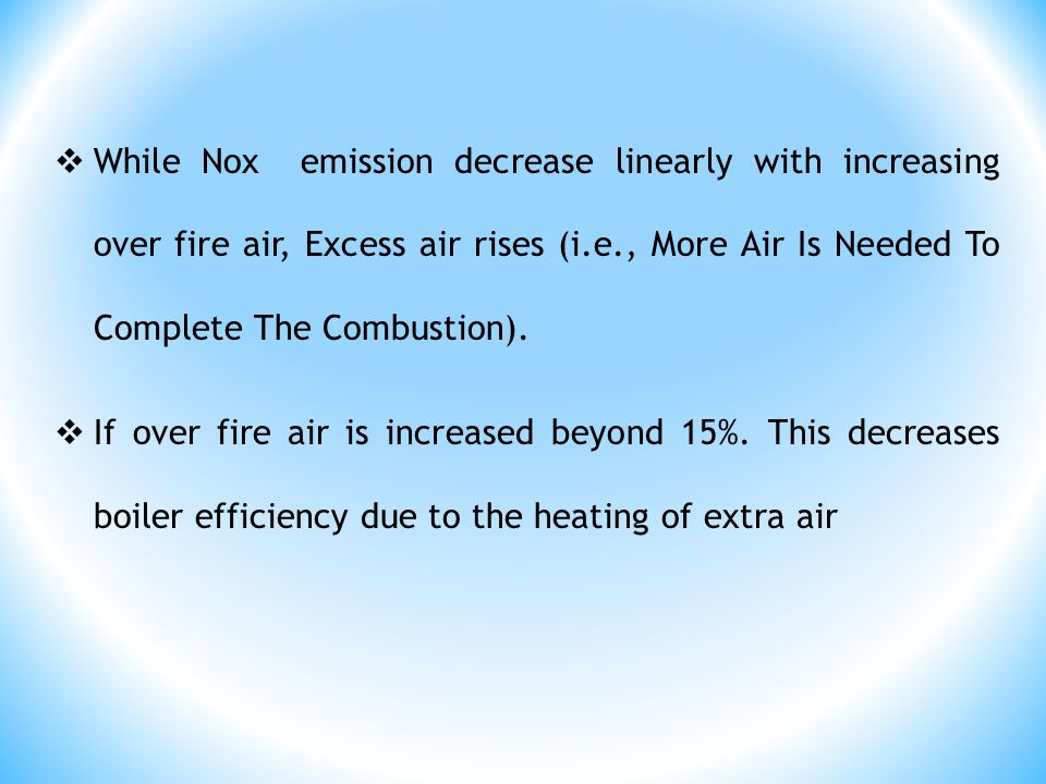 While Nox emission decrease linearly with increasing over fire air, Excess air rises (i.e., More Air Is Needed To Complete The Combustion).