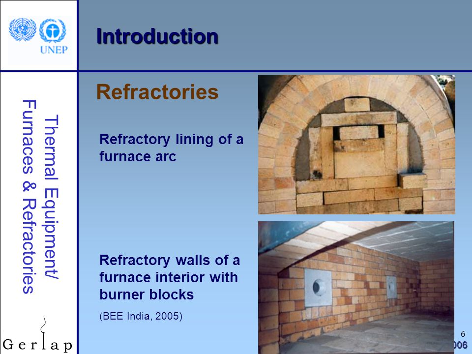 Introduction Refractories Refractory lining of a furnace arc