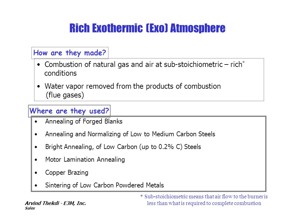 Rich Exothermic (Exo) Atmosphere