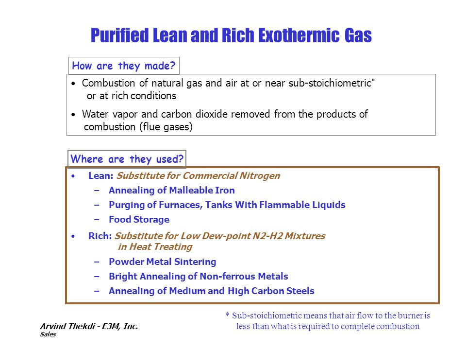 Purified Lean and Rich Exothermic Gas