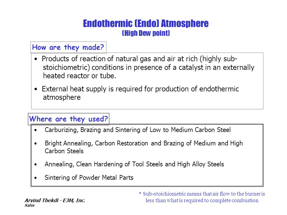 Endothermic (Endo) Atmosphere (High Dew point)
