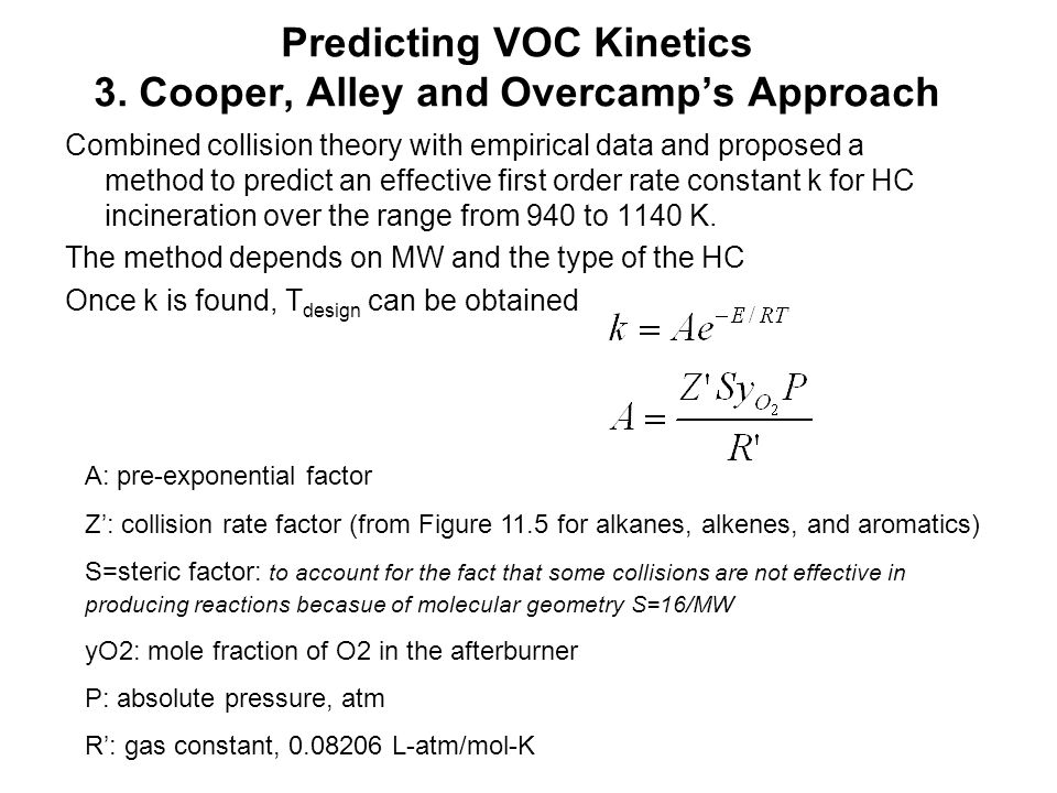 Predicting VOC Kinetics 3. Cooper, Alley and Overcamp's Approach