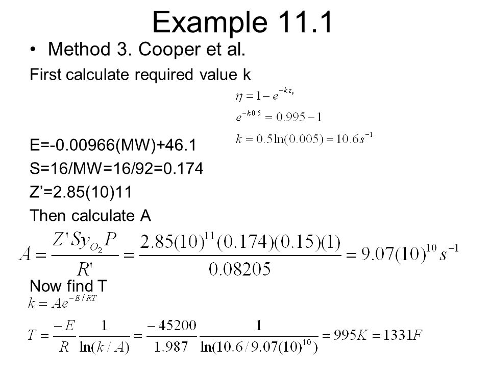 Example 11.1 Method 3. Cooper et al. First calculate required value k