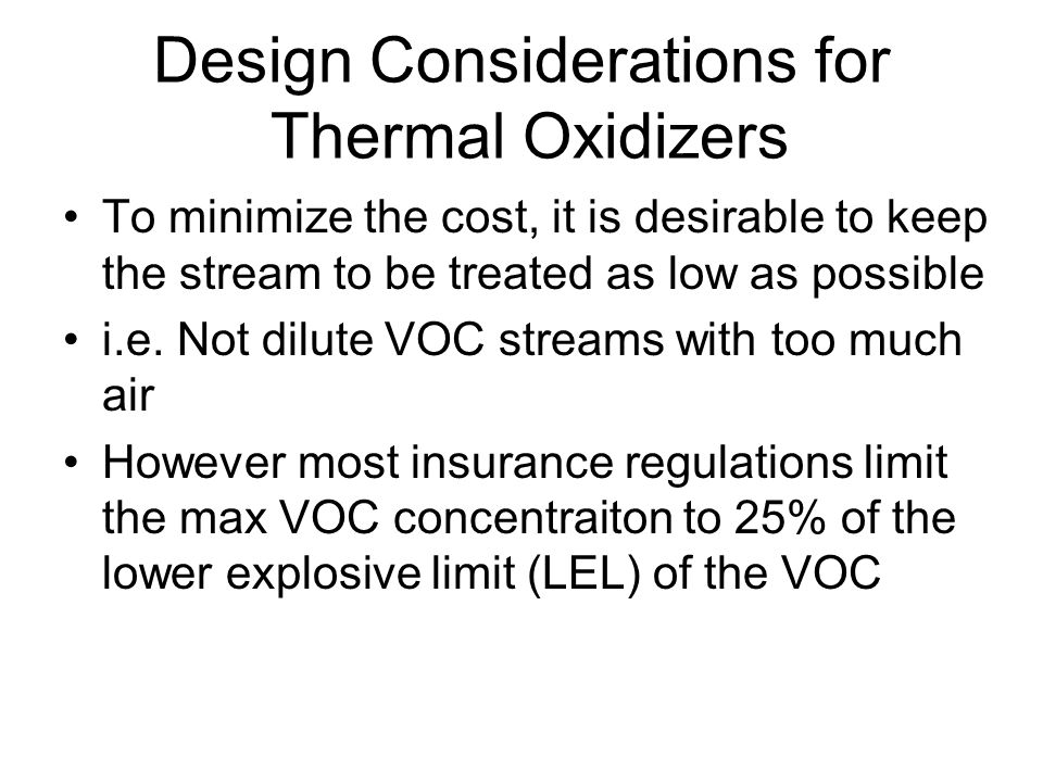 Design Considerations for Thermal Oxidizers